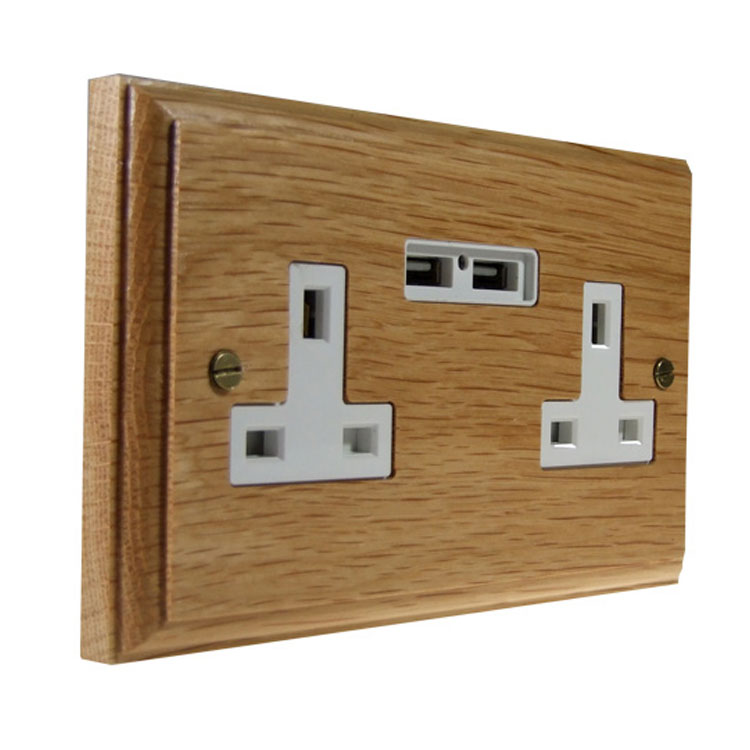 USB Charging Double Socket In Oak With White Trim