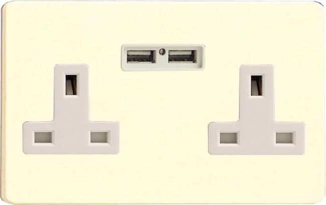 XDW5U2WS Varilight 2 Gang, 13 Amp Unswitched Socket with 2 Optimised USB Charging Ports, White Insert. Dimension Screwless White Chocolate