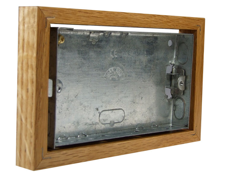 Classic Oak 18mm surface mounting wall box for 2G Bakelite for Horizontal fitting