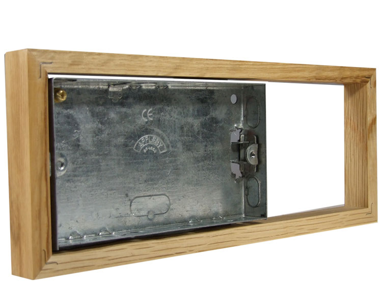 Classic Unfinished Oak 18mm surface mounting wall box for 3G Bakelite for Horizontal fitting
