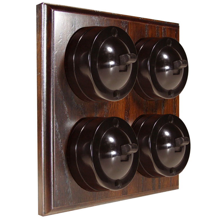 4 Gang Bakelite Switch Brown Dolly On A Solid Dark Oak Base