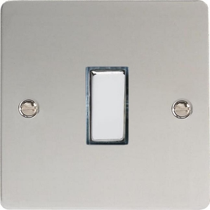 XFC20D Varilight 1 Gang (Single), 1 Way 20 Amp Double Pole Switch, Ultra Flat Polished Chrome