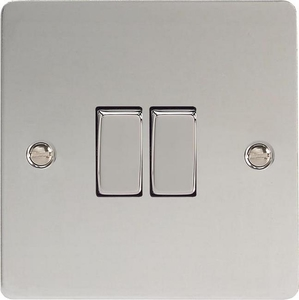 XFC2D Varilight 2 Gang (Double), 1 or 2 Way 10 Amp Switch, Ultra Flat Polished Chrome