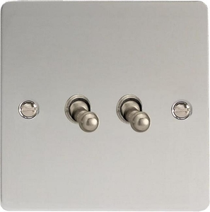 XFCT2 Varilight 2 Gang (Double), 1 or 2 Way 10 Amp Classic Toggle Switch, Ultra Flat Polished Chrome