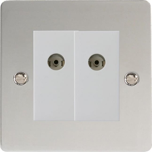 XFCG88W Varilight 2 Gang (Double), Co-axial TV Socket, Ultra Flat Polished Chrome