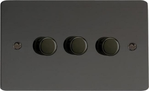 IFIDP303 Varilight V-Plus 3 Gang, 1 or 2 Way 3x300 Watt/VA Dimmer, Ultra Flat Iridium Black