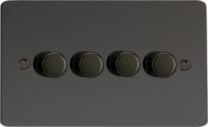 Varilight JFIDP254, V-Pro Series, 4 Gang, 1 or 2 Way, Push-On/Off Rotary LED Dimmer 4 x 0-120W (1-10 LEDs) (Twin Plate), Ultra Flat Iridium Black