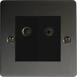 XFIG88SB Varilight 2 Gang (Double), Co-axial TV and Satellite Socket, Ultra Flat iridium Black