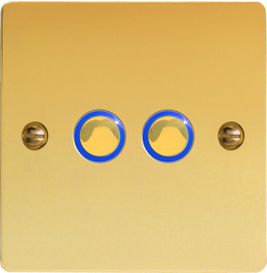 JFVI202 [JFVi252]  Varilight V-Pro Series eclique [Formally known as Eclipse] 2 Gang (Double), 1 or 2 Way or Multi-way 2x200 Watt Touch/Remote eclique Master Dimmer, (Trailing Edge), Ultra FlatPolished Brass Effect. One of the best dimmers for most good quality dimmable LED's, like Megaman.