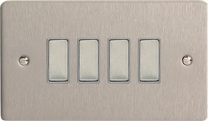 JFSES004 - Varilight V-Pro Series Eclique2, 4 Gang Tactile Touch Button Slave Unit for 2 way or Multi-way Circuits Only, Ultra Flat Brushed Steel