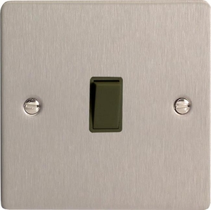 XFSBPB Varilight 1 Gang (Single), 1 Way, 10 Amp Retractive Switch (Bell and Blind Switch), Ultra Flat Brushed Steel