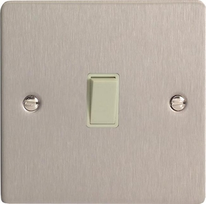 XFSBPW Varilight 1 Gang (Single), 1 Way, 10 Amp Retractive Switch (Bell and Blind Switch), Ultra Flat Brushed Steel