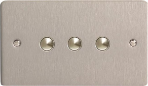 XFSM3 Varilight 3 Gang (Triple), 1 Way, 6 Amp Impulse Retractive Switch (Push To Make), Ultra Flat Brushed Steel