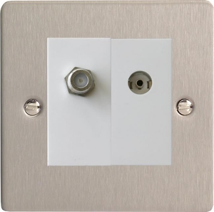XFSG88SW Varilight 2 Gang (Double), Co-axial TV and Satellite Socket, Ultra Flat Brushed Steel
