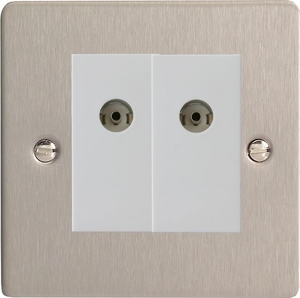 XFSG88W Varilight 2 Gang (Double), Co-axial TV Socket, Ultra Flat Brushed Steel