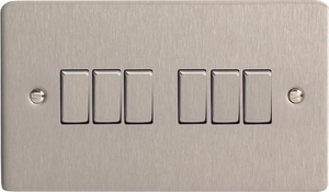 XFS96D Varilight 6 Gang 1or 2 Way 10 Amp Switch, Ultra Flat Brushed Steel  (Double Plate)