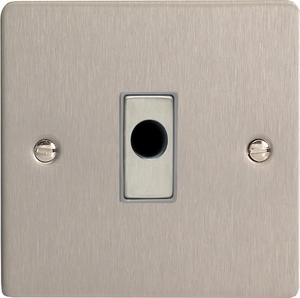XFSFOD Varilight Flex Outlet Plate with Cable Clamp, Brushed Steel insert, Ultra Flat Brushed Steel