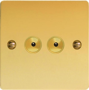 IFVI252M Varilight 2 Gang, 1 or 2 Way or Multi-way 2x250 Watt Touch/Remote Master Dimmer, Ultra Flat Polished Brass Effect