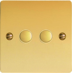 IFVS002 Varilight 2 Gang, Multi-way Touch Slave Unit, Ultra Flat Polished Brass Effect