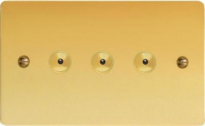 IFVI403M Varilight 3 Gang, 1 or 2 Way or Multi-way 3x400 Watt Touch/Remote Master Dimmer, Ultra Flat Polished Brass Effect
