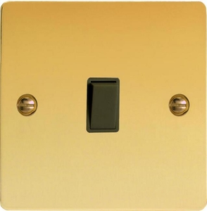 XFVBPB Varilight 1 Gang (Single), 1 Way, 10 Amp Retractive Switch (Bell and Blind Switch), Ultra Flat Polished Brass Effect