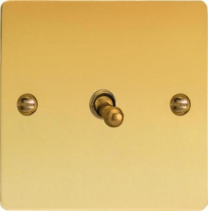 XFVT1 Varilight 1 Gang (Single), 1 or 2 Way 10 Amp Classic Toggle Switch, Ultra Flat Polished Brass Effect