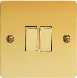 XFV77D Varilight 2 Gang (Double), (3 Way) Intermediate 10 Amp Switch, Ultra Flat Polished Brass Effect