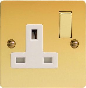 XFV4DW Varilight 1 Gang (Single), 13 Amp Switched Socket, Ultra Flat Polished Brass Effect