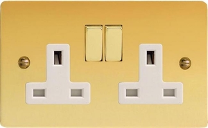 XFV5DW Varilight 2 Gang (Double), 13 Amp Switched Socket, Ultra Flat Polished Brass Effect