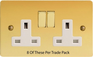 XFV5DW-P8  This is a Trade Pack item: 8 Units per box. Varilight 2 Gang (Double), 13 Amp Switched Socket, Ultra Flat Polished Brass Effect