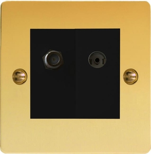 XFVG88SB Varilight 2 Gang (Double), Co-axial TV and Satellite Socket, Ultra Flat Polished Brass