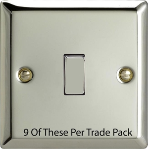 XC1D-P9   This is a Trade Pack item: 9 Units per box.  Varilight 1 Gang (Single), 1 or 2 Way 10 Amp Switch, Polished Chrome (also known as Classic Mirror Chrome)