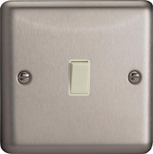 XSBPW Varilight 1 Gang, 1 Way, 10 Amp Bell and Blind Switch, Classic Brushed Steel