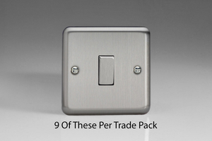 XS1D-P9   This is a Trade Pack of 9 items per box. Varilight 1 Gang, 1 or 2 Way 10 Amp Switch, Brushed Steel