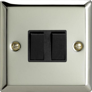 XC2B Varilight 2 Gang (Double), 1 or 2 Way 10 Amp Switch, Classic Polished Chrome (also known as Classic Mirror Chrome)