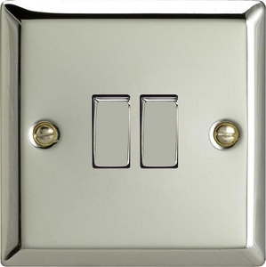XC2D Varilight 2 Gang (Double), 1 or 2 Way 10 Amp Switch, Classic Polished Chrome (also known as Classic Mirror Chrome)