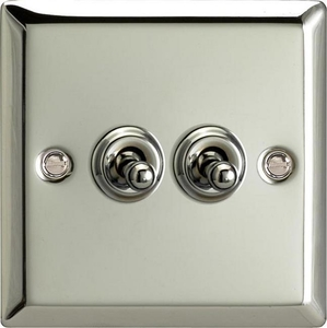 XCT2 Varilight 2 Gang (Double), 1 or 2 Way 10 Amp Classic Toggle Switch, Classic Polished Chrome (also known as Classic Mirror Chrome)