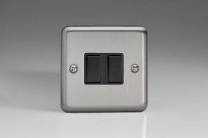 XS2B Varilight 2 Gang, 1 or 2 Way 10 Amp Switch, Classic Brushed Steel