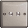 XSM2 Varilight 2 Gang, 1 Way, 6 Amp Momentary Switch, Classic Brushed Steel