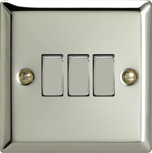 XC3D Varilight 3 Gang (Triple), 1 or 2 Way 10 Amp Switch, Classic Polished Chrome (also known as Classic Mirror Chrome)