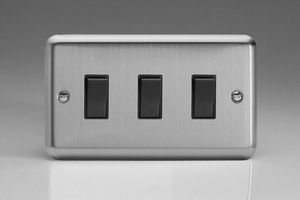 XS93B Varilight 3 Gang 1or 2 Way 10 Amp Switch, Classic Brushed Steel