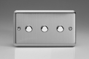 XSM3 Varilight 3 Gang, 1 Way, 6 Amp Momentary Switch, Classic Brushed Steel