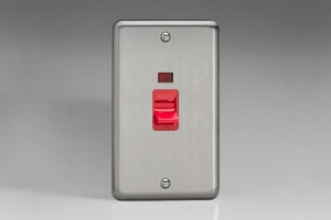 XS45NW Varilight 45 Amp Vertical Cooker Switch with Neon, Classic Brushed Steel