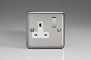 XS4DW Varilight 1 Gang 13 Amp Switched Socket, Classic Brushed Steel