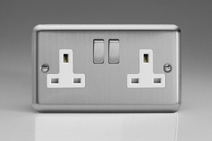 XS5DW Varilight 2 Gang 13 Amp Switched Socket, Classic Brushed Steel