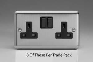 XS5B-P8  This is a Trade Pack of 8  items per box. Varilight 2 Gang 13 Amp Switched Socket, Brushed Steel