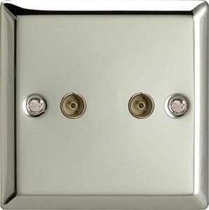 XC88 Varilight 2 Gang (Double), Co-axial TV Socket, Classic Polished Chrome (also known as Classic Mirror Chrome)