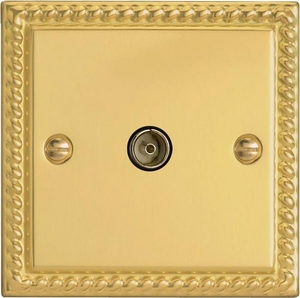 XG8iSOB Varilight 1 Gang (Single), Isolated Co-axial TV Socket, Classic Georgian Polished Brass Effect