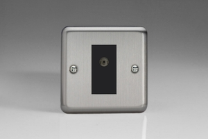 XS8ISOB Varilight 1 Gang Isolated Co-axial TV Socket, Classic Brushed Steel