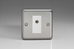 XS8ISOW Varilight 1 Gang Isolated Co-axial TV Socket, Classic Brushed Steel